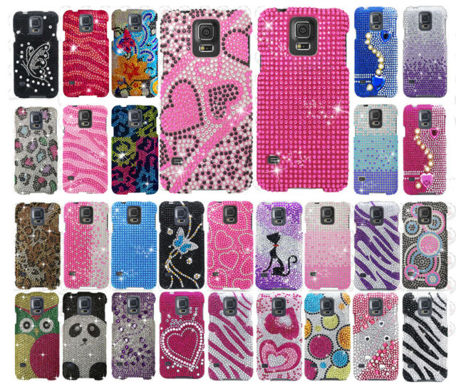 For Samsung Galaxy S5 Crystal Diamond BLING Hard Case Snap On Phone Cover