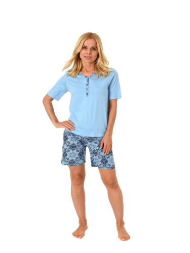 Normann Damen Shorty Schlafanzug Pyjama kurzarm mit Knopfleiste am Hals