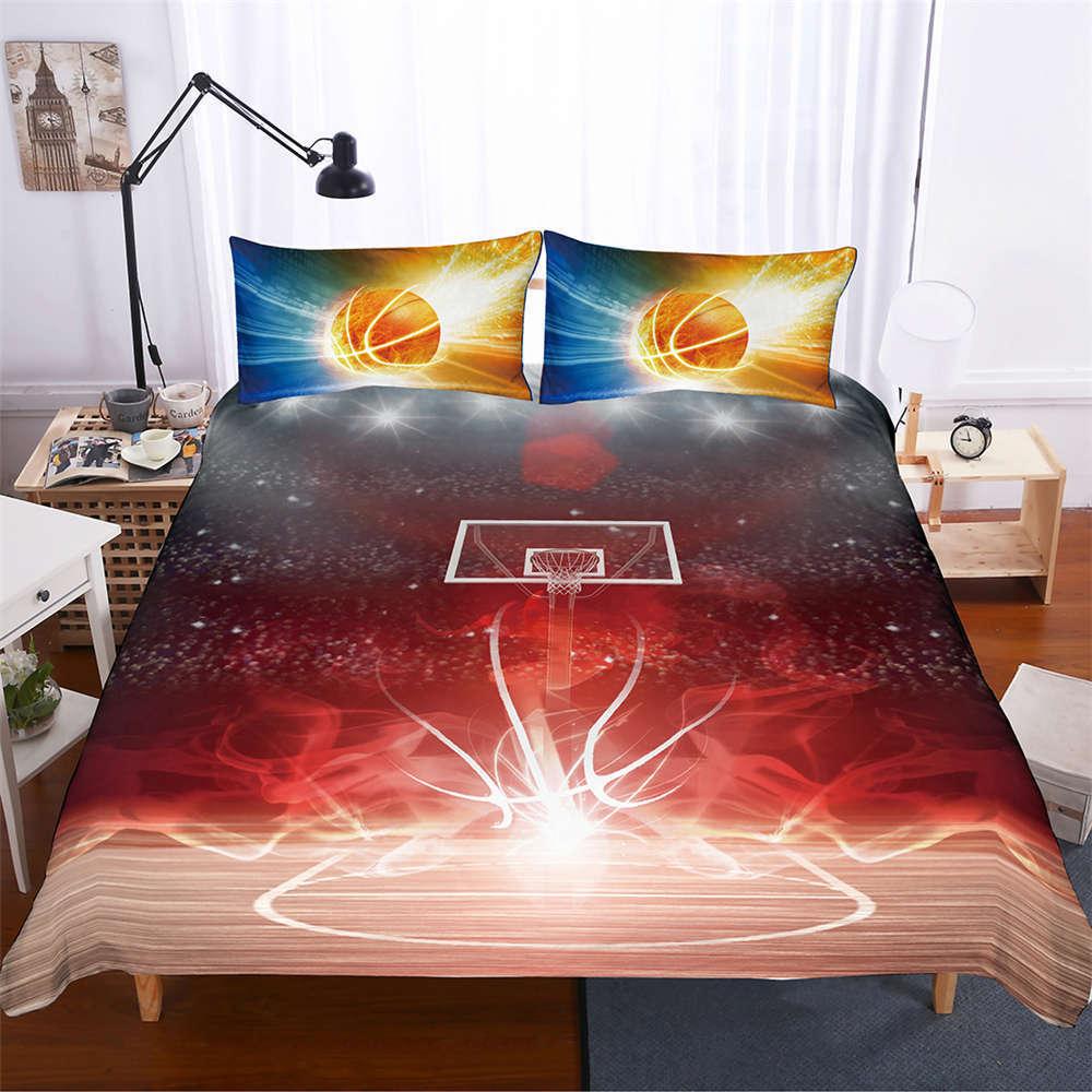 rouge Flame Basketball Frame 3D Digital Print Bedding Duvet Quilt Cover PilFaiblecase