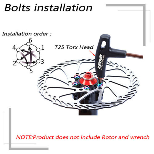 MTB Bike 160//180//203mm Rotor Bike Disc Brake Rotor T25 12PCS Screws Torx Wrench
