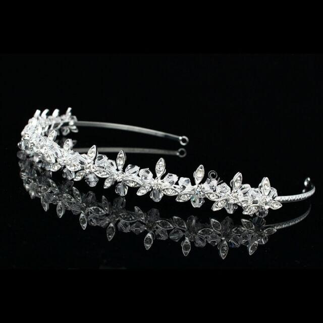 Handmade Bridal Floral Rhinestone Crystal Prom Wedding Tiara Headband 7848
