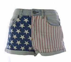 TOPSHOP-MOTO-Women-039-s-Light-Blue-Bleach-Flag-Print-Denim-Shorts-US-Size-6-NEW