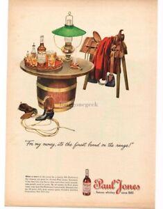 1945 PAUL JONES Whiskey Saddle Horse Barrell Table Cowboy Boots art Vintage Ad