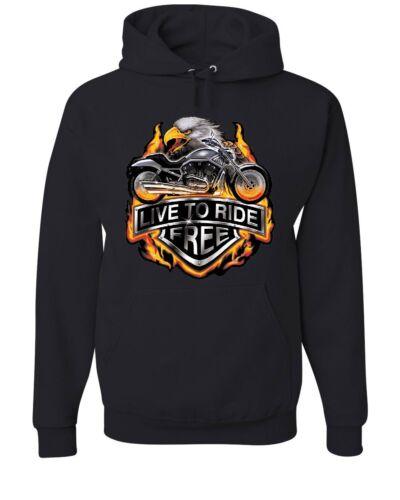 Live to Ride Hoodie Flaming Eagle /& Bike Biker MC Sweatshirt