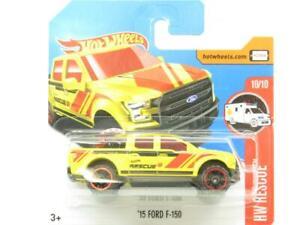 Hotwheels-15-Ford-F-150-Tarjeta-Corta-de-hardware-de-rescate-65-365-Amarillo-1-escala-64-Nuevo