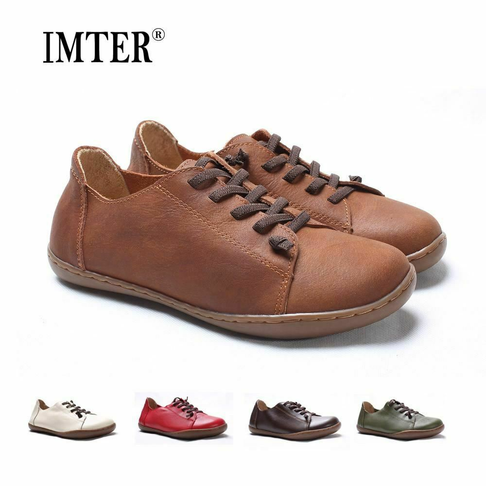 (35 -42)donna scarpe  Flat 100% Autentico Leather Plain piedi Lace up Ladies scarpe Fl  solo per te