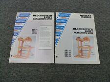 Norton Clipper Bbl52 Bbl54 Masonry Saw Owner Operator Maintenance Manual Set