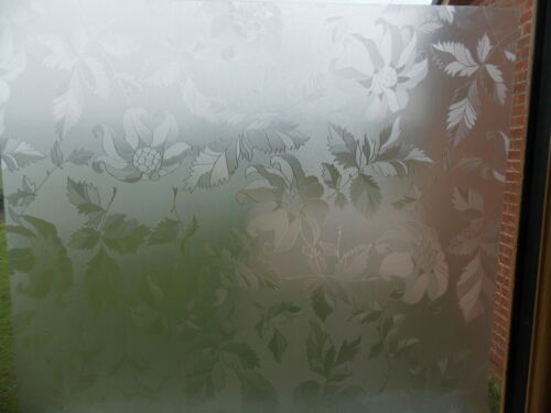 67.5cm Wide FROSTY FROSTED LEAF FLOWER GLASS WINDOW STICKY BACK PLASTIC VINYL