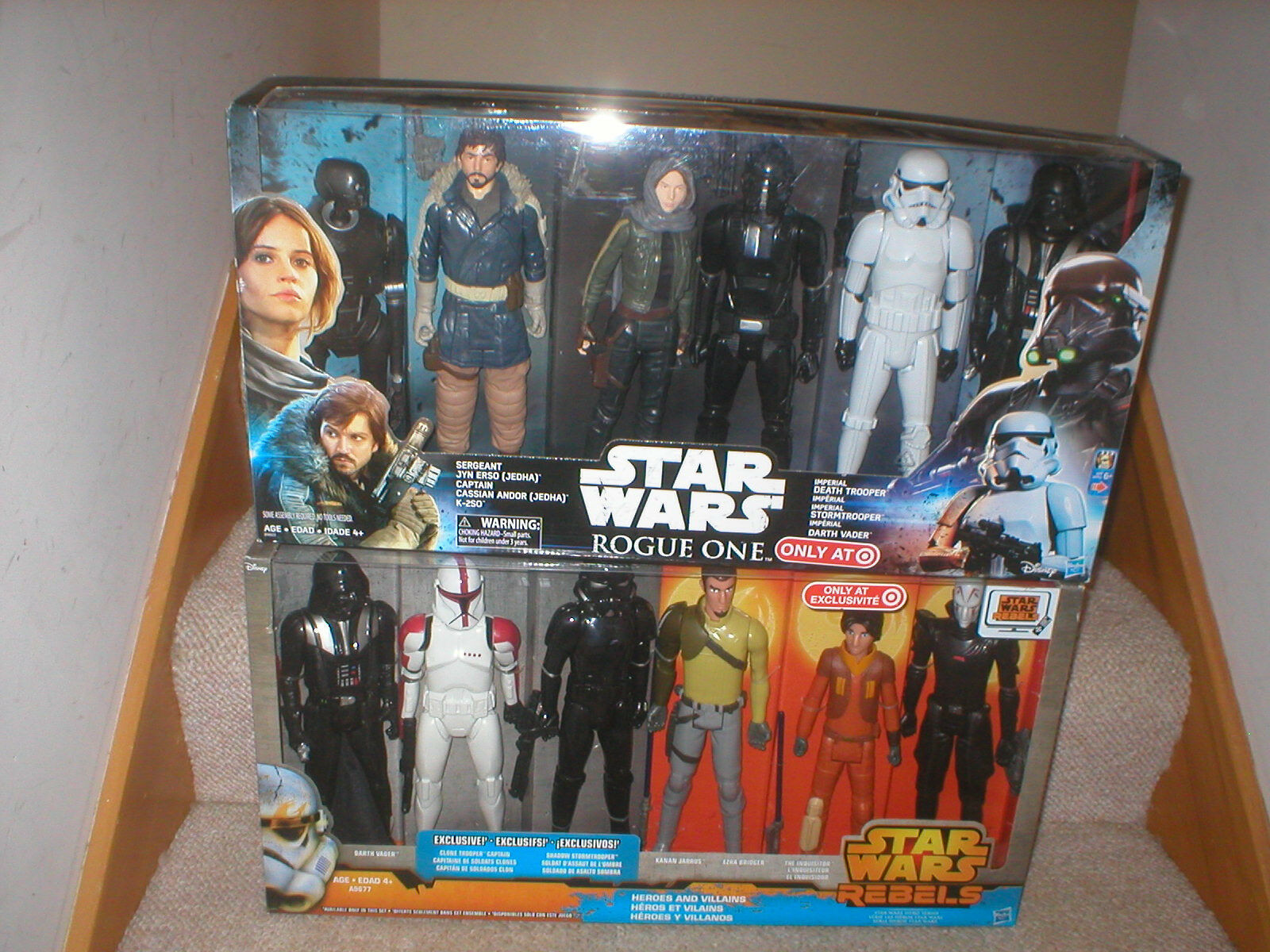 STAR WARS ROGUE ONE AND REBELS 12 INCH FIGURE SETS, 12 FIGURES IN ALL, NEVER OPE