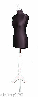 DELUXE Size 14 Female Dressmakers Dummy Mannequin Tailor BLACK Bust WHITE Stand