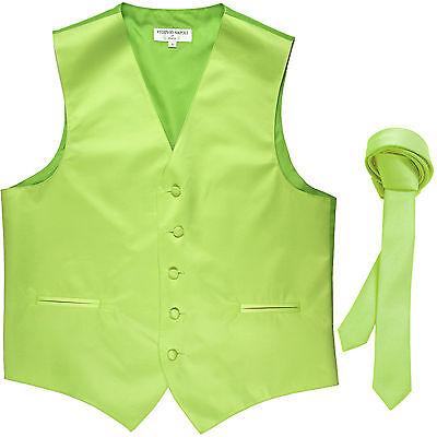 "New Men/'s Formal Tuxedo Vest Waistcoat/_1.5/"" skinny Necktie Gold prom wedding"