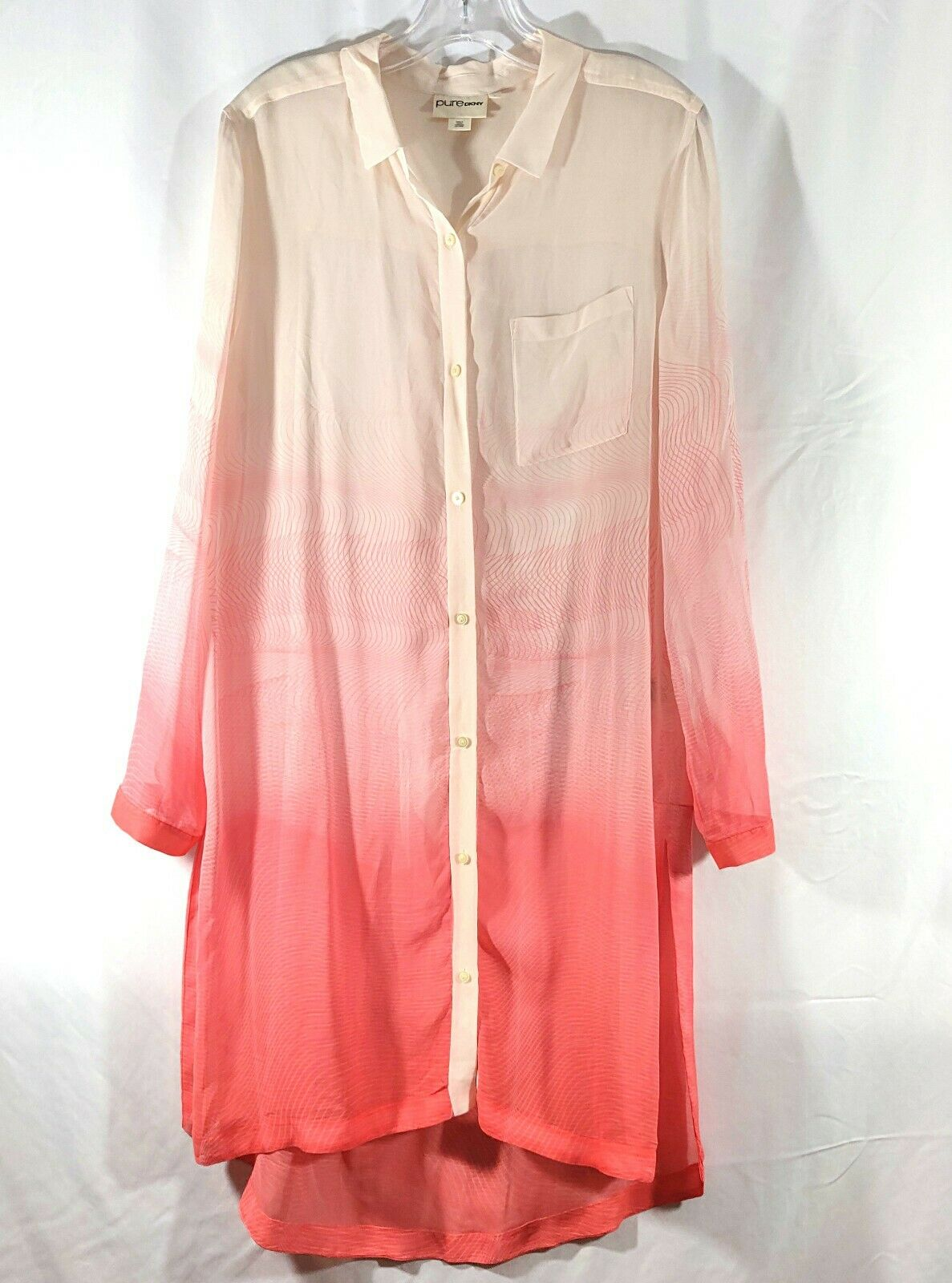 Pure DKNY damen Karan 100% Silk Tunic Button Up Ombre Cream Rosa Linear Design