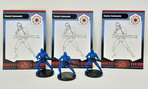 "Wizards Coast Star Wars Miniatures Galaxy War Lot of 3 Senate Commando 1.5/"" RPG"