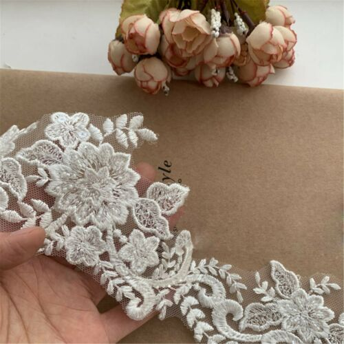 Flower Plant Wedding Evening Dress Edging Embroidery Beaded Costume Gown Lace 1Y