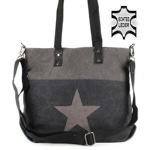 stern star hand schulter tasche leder canvas jeans stoff shopper anthrazit grau ebay. Black Bedroom Furniture Sets. Home Design Ideas