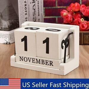 Image Is Loading Retro White Wooden Perpetual Calendar Manual Wood Block