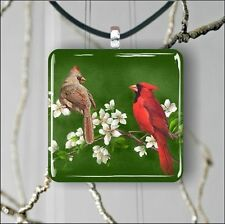"BIRDS RED CARDINAL COUPLE MALE AND FEMALE 1,3/8"" GLASS PENDANT NECKLACE"