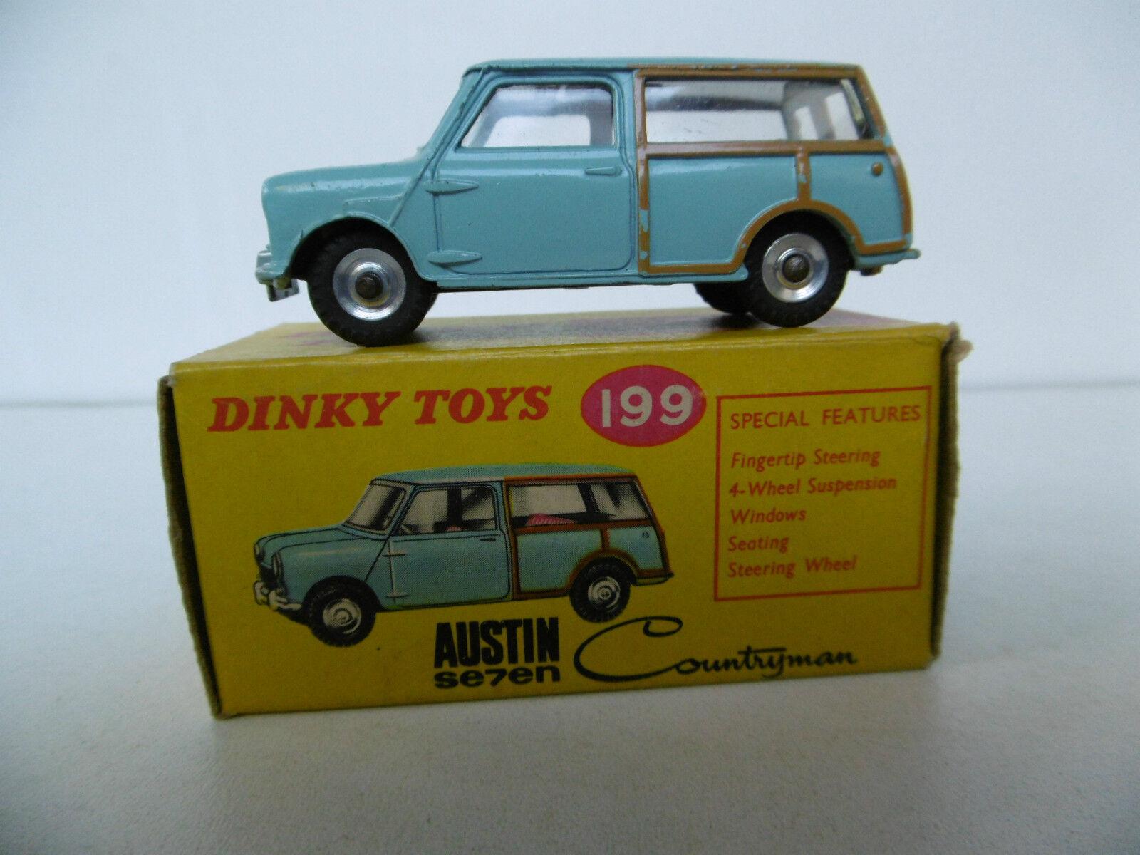 DINKY TOYS ENGLAND  AUSTIN SEVEN REF.199  BON  ÉTAT  BOITE D'ORIGINE 1961  contre authentique