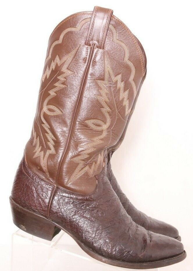 Justin 8993 Smooth Ostrich USA No Slip Cowboy Western Boots Men's US 8.5D