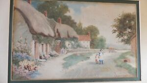 F-H-Stewart-Antique-Old-Original-Signed-Watercolour-Of-Village-Scene