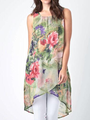 NEW ex Joe Browns GREEN MULTI Romantic Floral Longline Tunic size 12 16 18 20 24