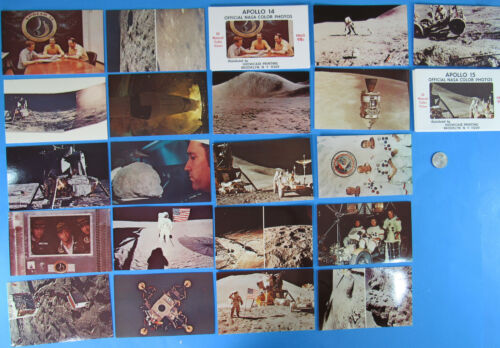 APOLLO 14 /& 15 color PHOTO POSTCARD 2 SETS of 10 /'71 vtg NASA 20 Postcards Total