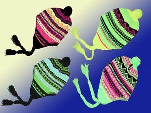 multicolore-femme-fille-bonnet-D-039-HIVER-AVEC-BANDE-TRESSE-norvegien-art-couleur