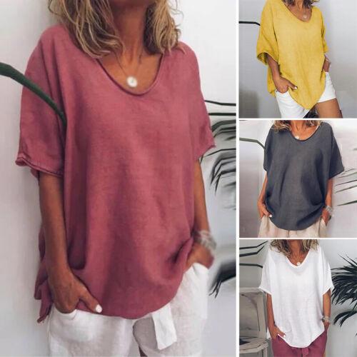 Damen Locker Bluse Sommer Kurzarm Baggy Tops Tunika Oberteil Plain T-Shirts Tops