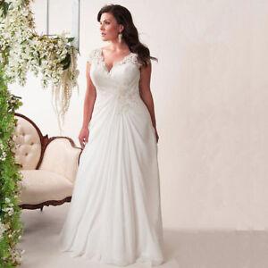 free shipping 1937d 3ae8a Details zu Chiffon Brautkleid Hochzeitskleid Kleid für Braut Mode Mollige  weiß ivory BC452