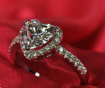 Size 5-10  Jewelry Ladys 925 Silver Heart White Sapphire Wedding Ring Not Fade