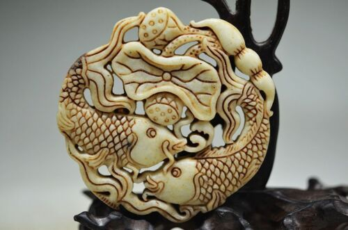 CHINESE OLD JADE HAND CARVED HOLLOW OUT FISH /& LOTUS LEAF JADE TABLETS
