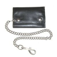 Trifold Biker Wallet - Snap Pocket With Chain - Black Leather - Usa Made