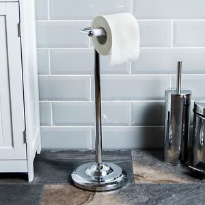 Toilet Roll Paper Holder Floor Free Standing Chrome Bathroom By Home Discount 5055693371444