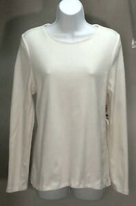 NWT-CHARTER-CLUB-Women-039-s-Ivory-Solid-Long-Sleeve-Shirt-Top-Blouse-Sz-PL