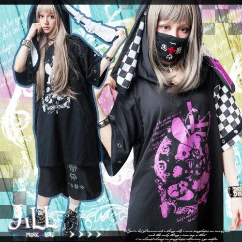 Punk kera kawaii Lunatic cursed rabbit doll extra long bunny ear hoodie【JJ2212】