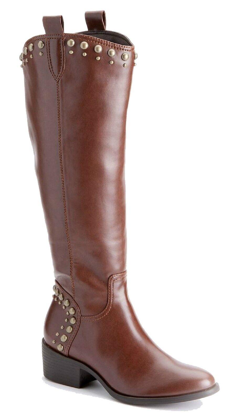 100% nuovo di zecca con qualità originale Elle donna Addison Cognac Marrone Studded Tall Knee Knee Knee High stivali 6 M 6M  negozio d'offerta