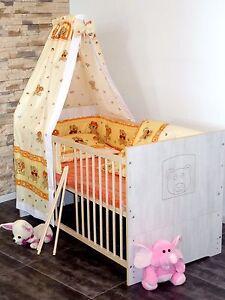 Babybett Kinderbett Komplett  Gitter Juniorbett  5Farben UMBAUBAR 70x140 weiß