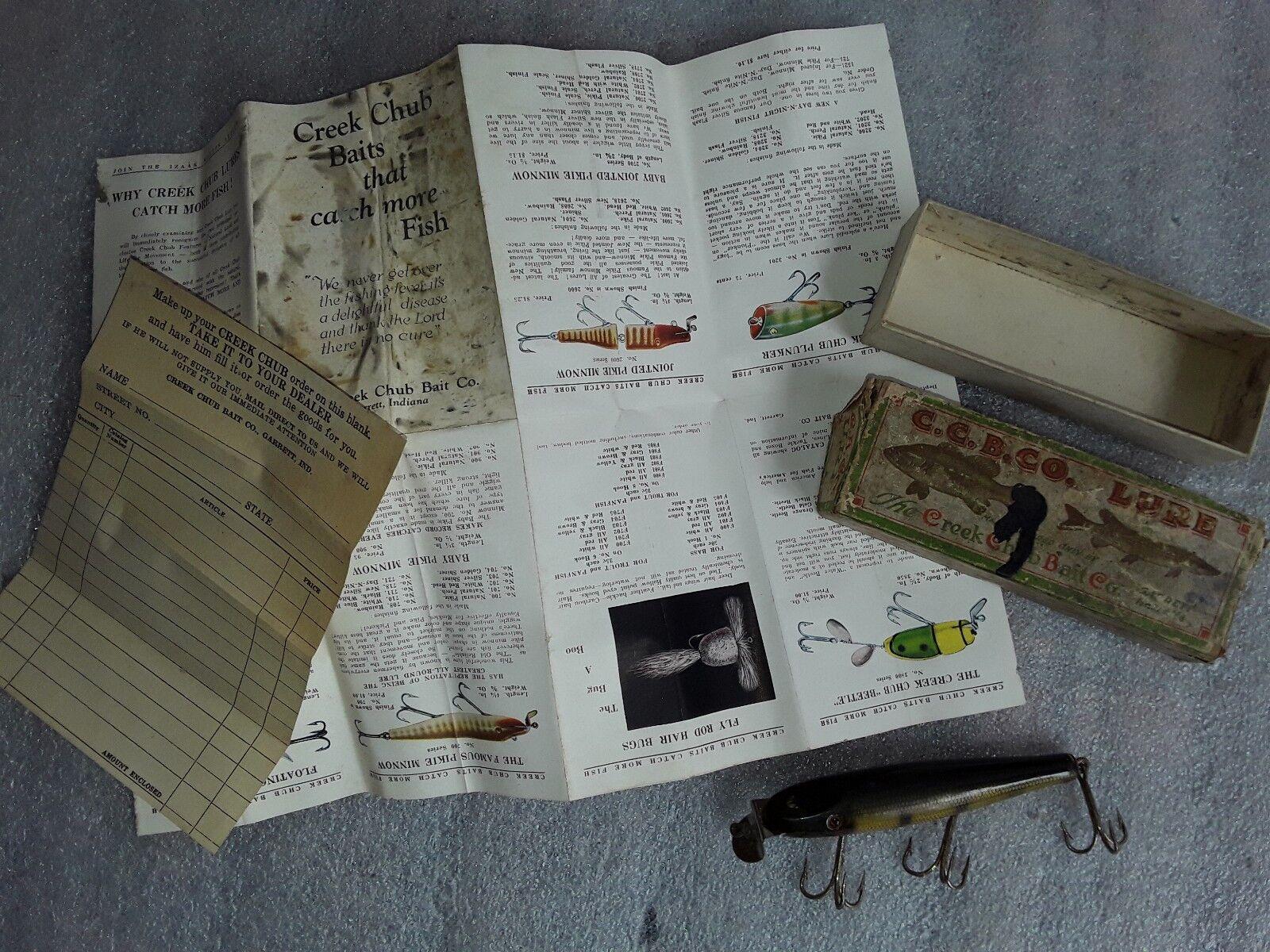Vintage wood body CREEK CHUB PIKIE MINNOW PERCH FISHING LURE W  BOX & PAPERWORK
