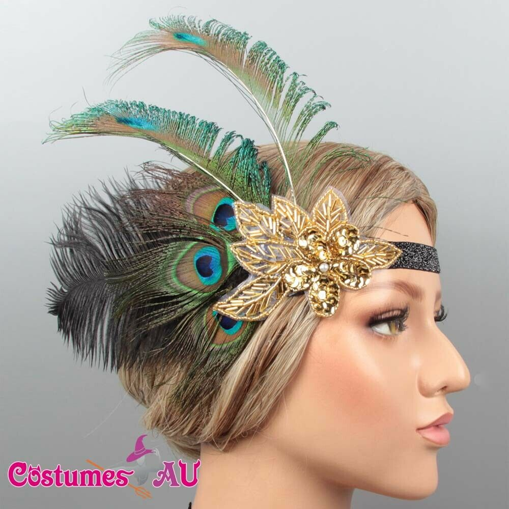 1920s Peacock Gatsby Headpiece Flapper 20s Costume Headband Feather Gangster
