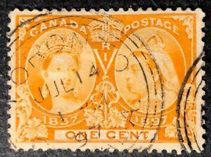 CANADA-1897-51-QUEEN-VICTORIA-JUBILEE-1c-ORANGE-3-RING-CANCEL-CDS-TORONTO