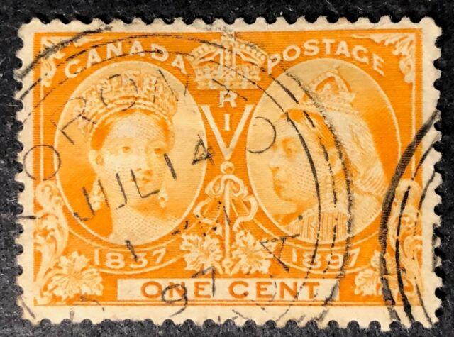 CANADA 1897 # 51 QUEEN VICTORIA JUBILEE 1c ORANGE  3 RING CANCEL CDS TORONTO
