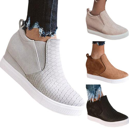 Women/'s Hidden Wedge Trainers Sneakers Casual Zipper Up Slip On Mid Heels Shoe