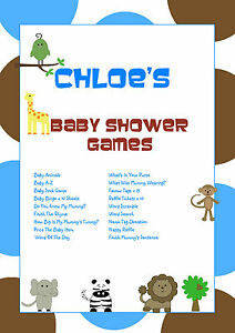 1 Personalised Baby Shower Party Games for 10 guestsFavour TagsBlue Animal