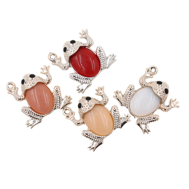 50x Fancy Style Mix Color Acrylic Frog Charms Pendant Findings Jewelry Makings J