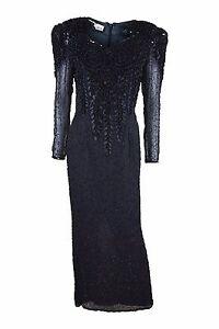 DIANE-FREIS-Vintage-Beaded-Black-Long-Sleeved-Cocktail-Dress-S