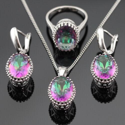 Multicolor oval Rainbow topaz 925 Silver Necklace Pendant Earring Ring Bracelet