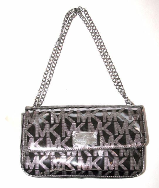 Michael Kors Jet Set Chain Nickel Shoulder Flap Mirror Metallic Handbag Purse