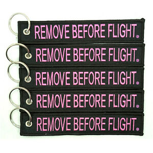 5-Pack-Remove-Before-Flight-Key-Chain-Black-amp-Pink-aviation-truck-motorcycle