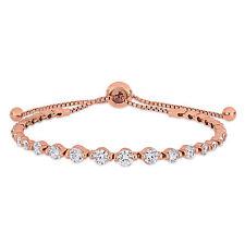 Haylee Jewels Rose Plated Sterling Silver CZ Adjustable Bolo Bracelet