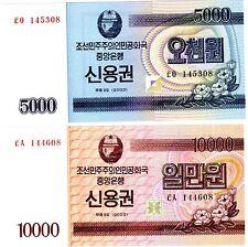 LOT SET SERIE 2 BILLETS KOREA Coree 5000 & 10000 WON  2003 BOND UNC NEUF